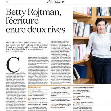 La Croix - Juin 2019 - Recontre: Betty Rojtman, l'écriture entre deux rives 1